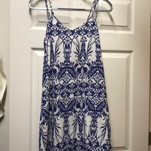 Dresses & Skirts - White and blue double strap dress
